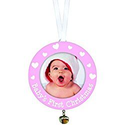 Tiny Ideas Baby's First Christmas Ornament, Pink