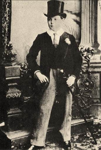 Churchill as a 15-year-old in the full Harrow School uniform, including top hat and cane. Though he was negelected by his parents and felt lonely while at Harrow, Churchill excelled in Maths and History and became the school's fencing champion.