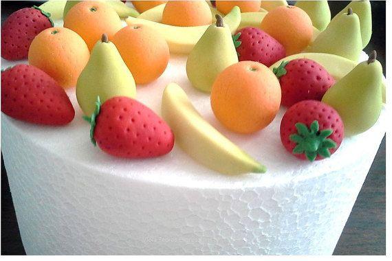 Gumpaste Fruit Strawberry Orange Pear by expressionofinterest