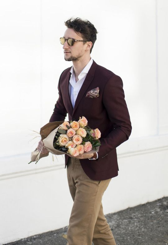 Shop this look on Lookastic: https://lookastic.com/men/looks/burgundy-blazer-white-long-sleeve-shirt-khaki-chinos/20942   — White Long…