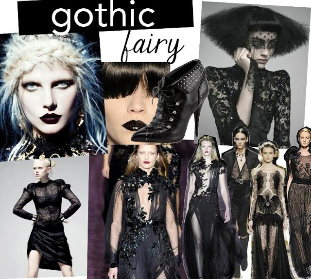 Do you know the fall trends for autumn/winter 2014? One of my favourite's is Gothic Fairy. Basically this trend tell us the story of a gothic princess that wears lace and velvet. It's a feminine, delicate woman with a dark side. For make up we are going to see dark lips and pale skin. We will also see religious symbolism in prints, and lot of embroidery. Studs, crosses, brocade, deep florals, and dark colours are essential elements.