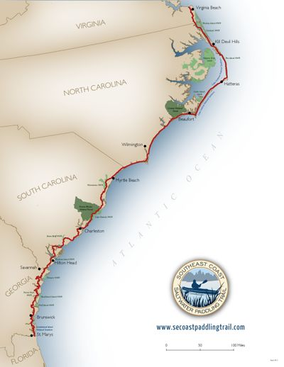 Southeast Coast Saltwater Paddling Trail - The newly delineated paddle trail spans some 800 miles along the Coast of 4 states. The route connects Virginia from the Lynnhaven River near the mouth of the Chesapeake Bay to the Cumberland National Seashore of Georgia and the Florida border.