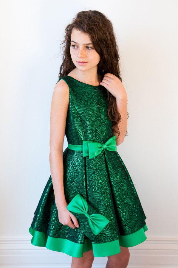 Magnificent Green Brocade Prom Dress | David Charles Childrens Wear