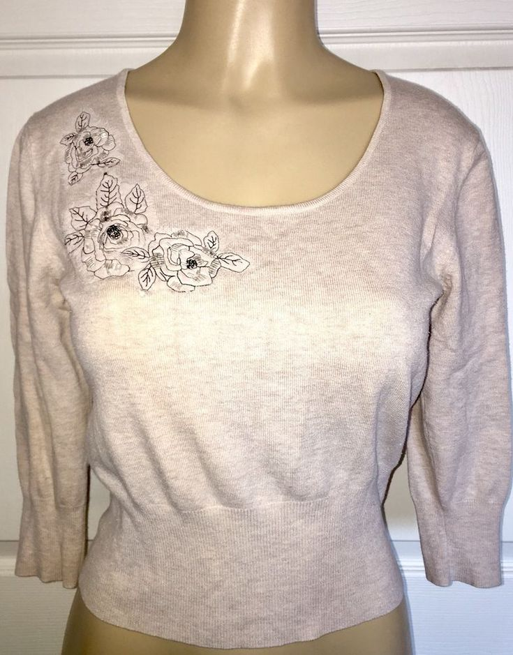Womens George Beige Sweater Size Medium 8/10 Thin Lightweight Roses  | eBay
