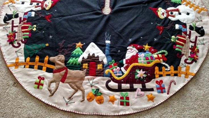 "60"" Hand made Wool Flannel Felt Bead Santa Reindeer Snowman CHRISTMAS TREE SKIRT #Unbranded"