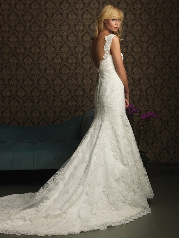Feminine Floor Length Mermaid V-Neck Low Back Sweep Train With Lace,Embroidery Wedding Dresses WDresses00606