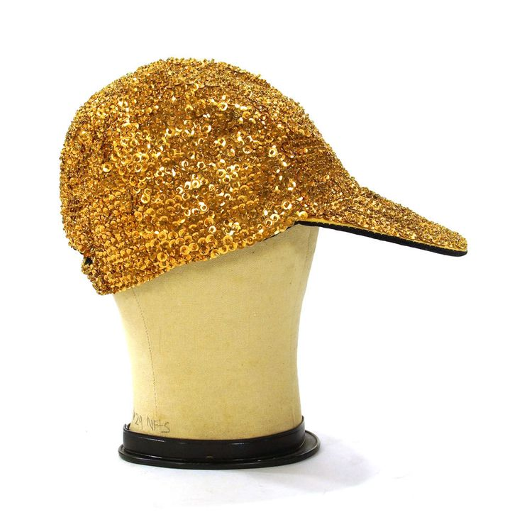 90s Gold Sequin Baseball Hat / Vintage 1990s Glam Rock Club Kid Ball Cap with Visor by SpunkVintage