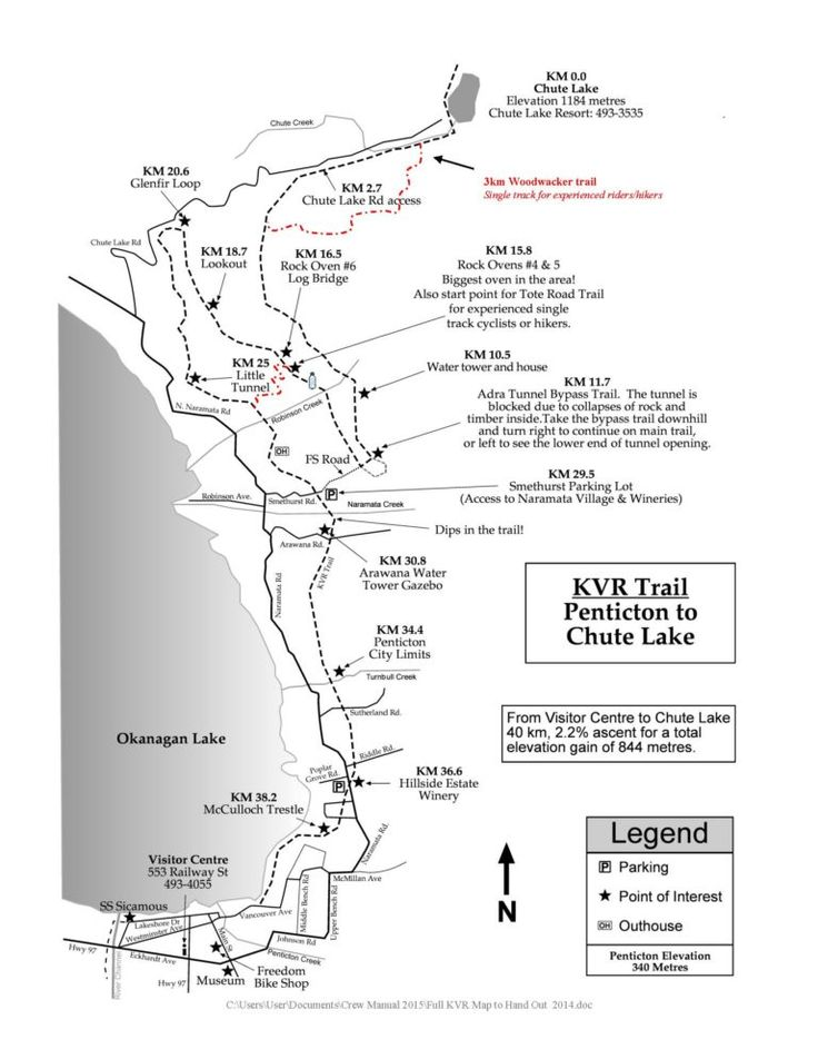 Printable Hiking Walking and Biking Trails along the KVR (Kettle Valley Railway) from Penticton to Chute Lake - Map from Penticton and Wine Country Tourism Information Centre