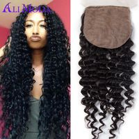 Vip beauty hair Peruvian deep curly silk base closure 8a premium hair closure 8-20 inches Peruvian curly hair silk closure