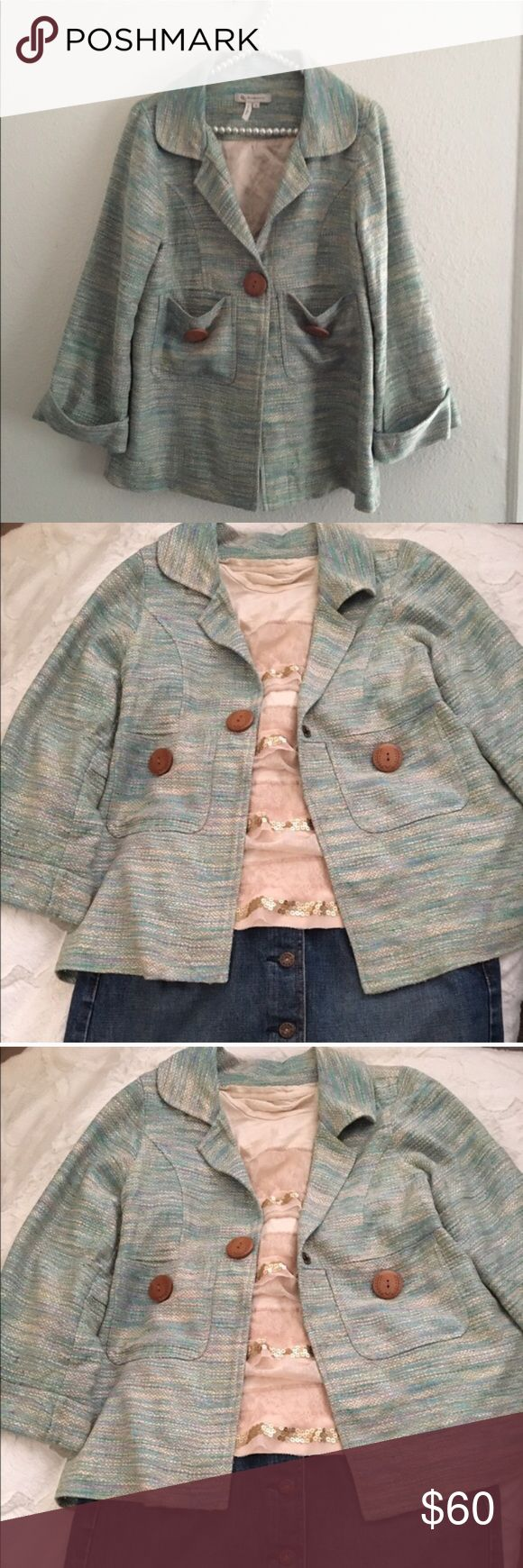 •BCBG babydoll jacket Cute work/casual jacket with front pockets and bow accent on the back. Dusty/baby blue color with colorful pattern on top. Size: medium but can fit an xs-med. offers are always welcomed💕 BCBGeneration Jackets & Coats