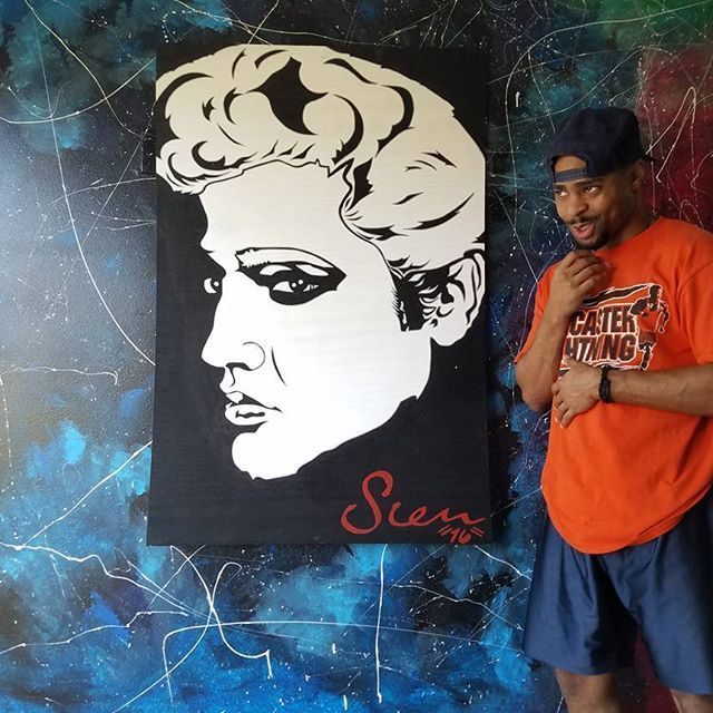 ". ""The King"" @Elvis Medium: Special blend of acrylic Canvas: Wood Size: 4' X 32"" To purchase contact: .--: stevenmichaeljohnsonart@gmail.com .--: 214-734-6790 . .  #SMJArt #Dallas #CaliArt #NYCArt #Millionaire #Cali #jfk #president #instadaily #Painting  #sxsw  #DallasArtDistrict #Bblogger  #dallas #DallasCowboys #gold #DfwArtwork #Paint #BlackAndWhite #Acrylic #Wood #Deepellum #Portrait #travel #blogger #youtube #paint #elvis #famous"