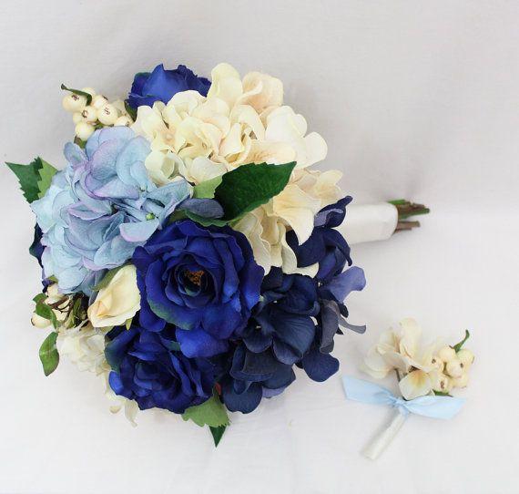 Brautstrauß blau Elfenbein-Hortensie Bouquet von ItTopsTheCake