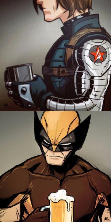 Winter Soldier & Wolverine Drinking Coffee - Andrew Kwan