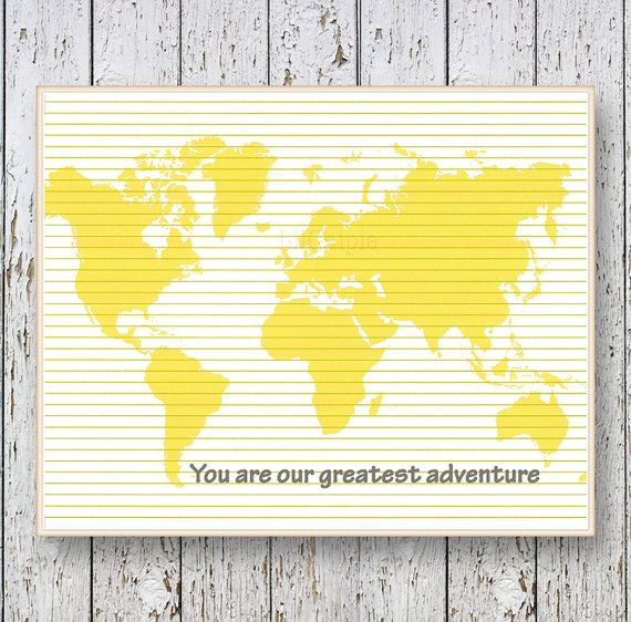 0066    A world map print for any room in yellow colors with the phrase You are our greatest adventure. Great wall art for children.  Also available in