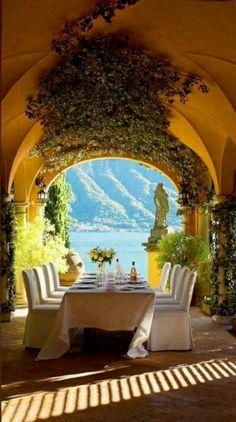 Elegant veranda dining at the Hotel Villa dEste on Lake Como in Cernobbio Italy photo: Whitebow Events