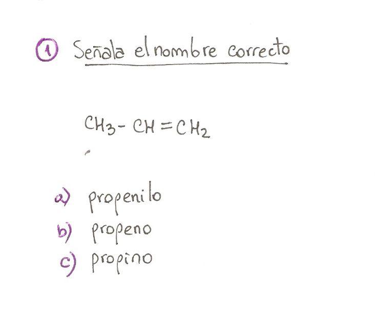 Ejercicio propuesto 01, formulación orgánica de Alquenos. Ejercicio de múltiple opción.