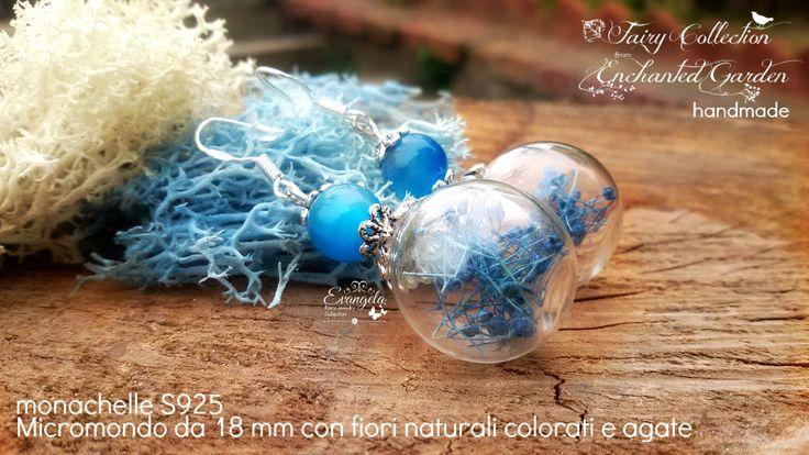 Orecchini micromondo s925 agate e vetro soffiato fiori veri , by Evangela Fairy Jewelry, 13,00 € su misshobby.com