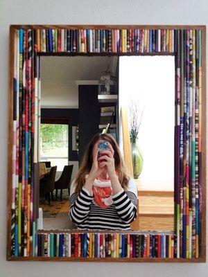 DIY rolled magazine mirror