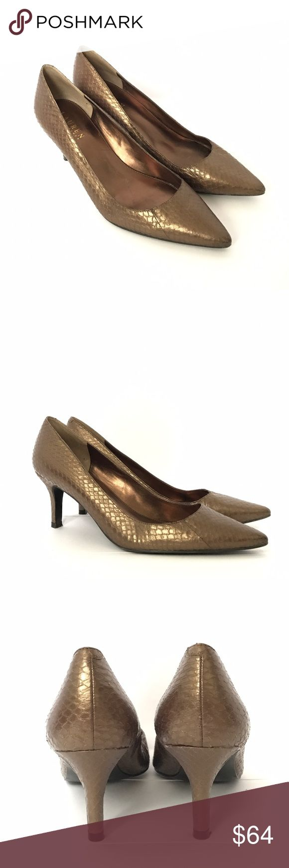 "RALP LAUREN Pumps Gently used in great condition. Snakeskin metallic brown pumps. Heel height is 2.8"" very comfy and elegant. Lauren Ralph Lauren Shoes Heels"