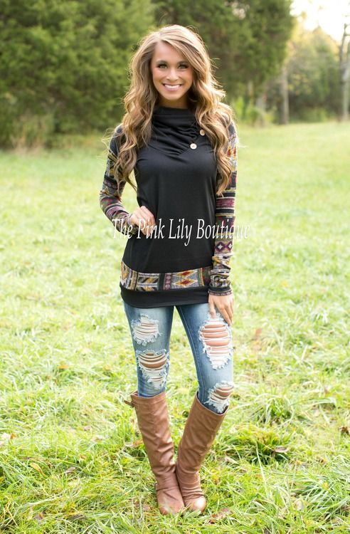 Black Aztec Accent Sweatshirt