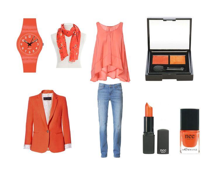 Un 'pantalón denim recto', una 'blusa asimétrica' y una 'blazer jogging' (Zara), un 'fular estampado flores' (Cortefiel), un 'reloj unisex flaki orange swatch' (El corte inglés), y parte del 'Double exposure' de Nee: el dúo de sombras, el esmalte de uñas y la barra de labios a juego.