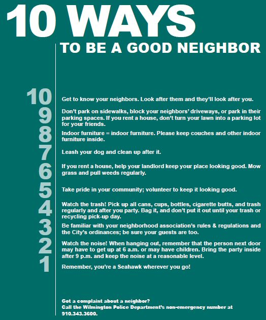 essay on being a good neighbour What is a good neighbor  i would say common sense can determine the manner in which we should interact with our neighbors for example - being helpful and.