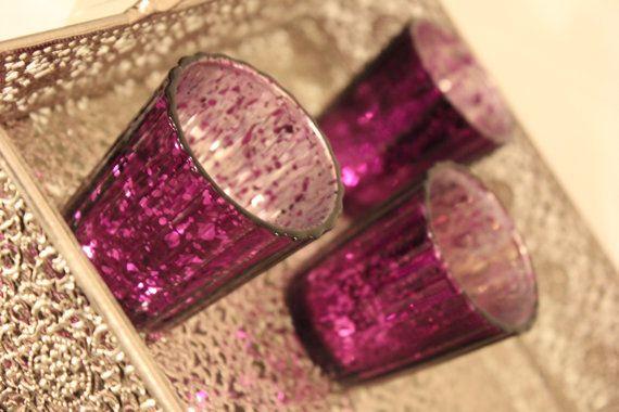Set of 10 MERCURY GLASS PURPLE Candle Holders Plum Eggplant Amethyst Speckled Glass Votive Holder Candleholder Tea Light Vintage Wedding