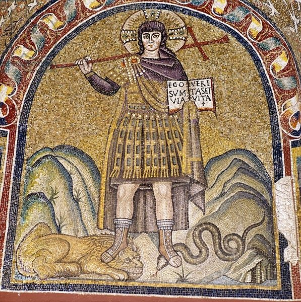 Warrior Christ (mosaic). Roman, (6th century AD). I am the way, the truth, and the life; Cappella Arcivescovile, Ravenna, Italy