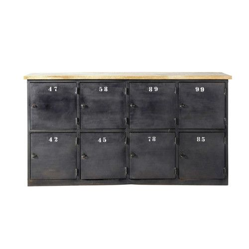 Metal industrial sideboard with compartments in charcoal grey W 160cm