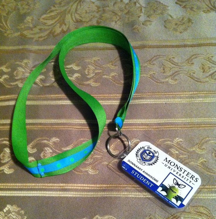 DIY Monster's University Student ID with lanyard.  http://www.disneydonnakay.com/2013/07/creative-disney-inspirationmonsters.html
