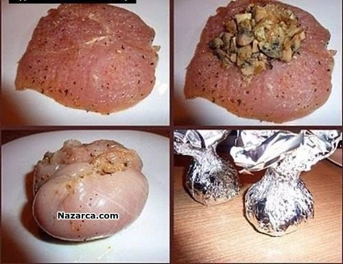 Resimli Anlatımlı Tavuk Yemekleri-Fırında Pişirilen Tavuk Yemeği Tarifleri-Fırında Mantarlı Tavuk Bohça Tarifi Tavuk ile yapılan yemek eşitlerini sevenler için hem lezzetli hem yapması keyifli lezi…