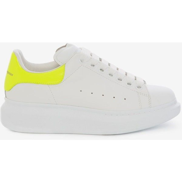Alexander McQueen Oversized Sneaker ($475) ❤ liked on Polyvore featuring shoes, sneakers, neon yellow, round cap, neon yellow shoes, oversized shoes, alexander mcqueen trainers and logo shoes