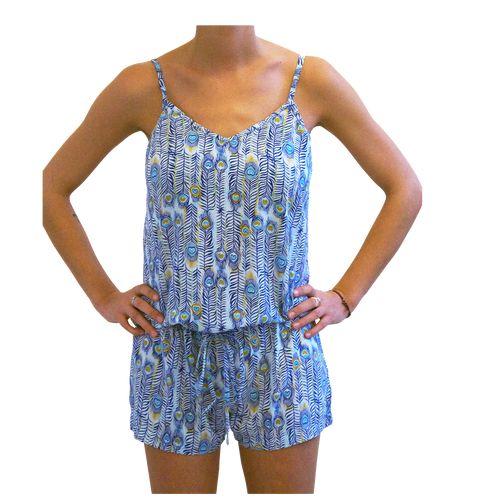 Sorayane - Blue Peacock's Feather pattern Romper - $23