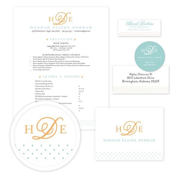 Sweet Monogram Sorority Packet // Our complete sorority packets include designs for your resume, cover letter, mailing labels, return address labels, personal stickers to label your sorority headshots, and thank you notes—everything you need to gather letters of recommendation for sorority recruitment!  sororitypackets.com