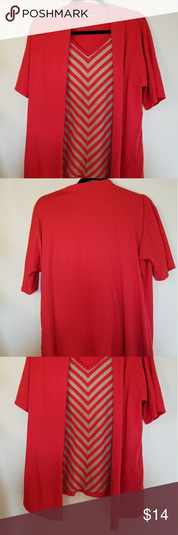 Red cami long sleeve Red cami long sleeve  Brand croft &barrow  Size xl  Color red on outside  Color tan and red on the inside  Inside shirt attached. Machine washable croft & barrow Tops Camisoles