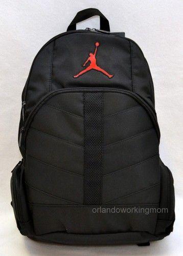 Nike Air Jordan Black backpack for Men, Women, boys and Girls with red jordan logo #OrlandoTrend #Nike #Backpack