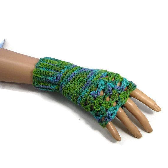 Green and Blue Alpaca Wool Gloves by Bluebirdsanddaisies on Etsy