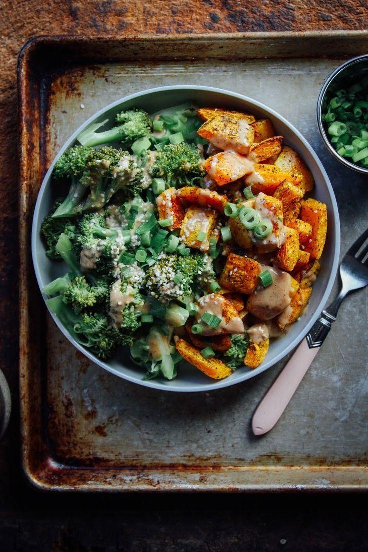 creamy butternut squash with broccoli + chipotle almond sauce: