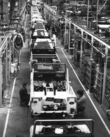 The Solihull assembly line of the new Land Rover 110 in 1983.