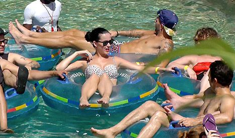 Katy Perry Wears Tight Bikini Top, Floats Down Lazy River,  Atlantis Resort & Casino in The Bahamas... during a Caribbean getaway with friends on Saturday, May 18, 2013.  usmagazine.com