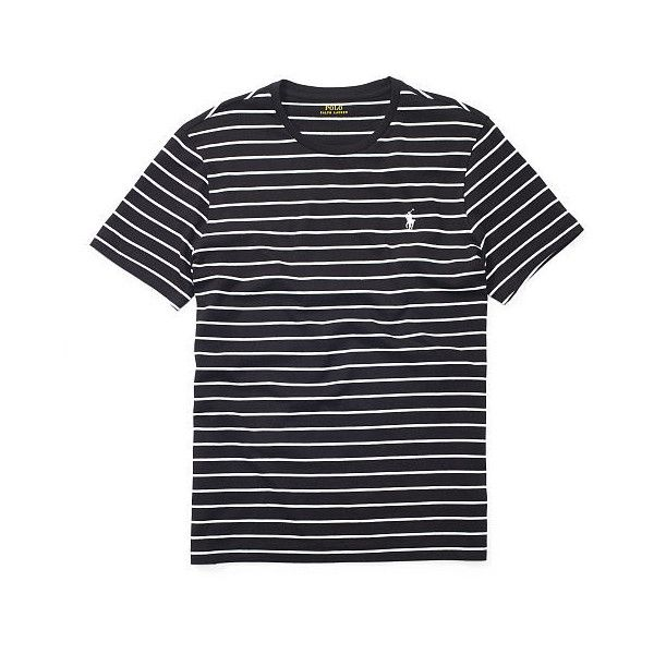 Polo Ralph Lauren Striped Cotton Jersey T-Shirt (62 CAD) ❤ liked on Polyvore featuring men's fashion, men's clothing, men's shirts, men's t-shirts, mens embroidered shirts, mens striped t shirt, mens short sleeve t shirts, mens crew neck t shirts and j crew mens shirts