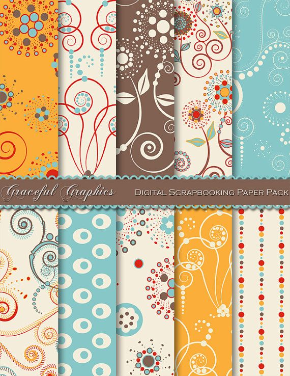 Scrapbook Paper Pack Digital Scrapbooking 10 Background Papers Cosmic Swirls Pack DAMASK Red Orange Turquoise Brown White 8.5 x 11 1301gg