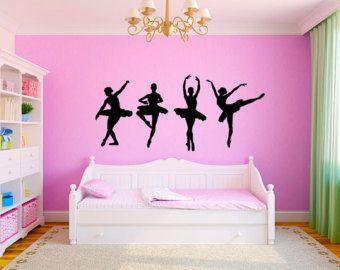 "Dancing Ballerinas Girls Nursery Room Vinyl Wall Decal Graphics 22""x48"" Medium Bedroom Decor"
