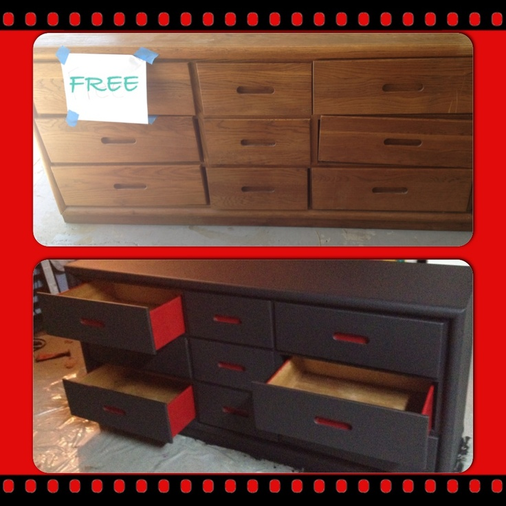 Repurposed dresser using flat black and satin red Valspar paint for JJ's Lightning McQueen room! Another Holly-cheapskate moment.