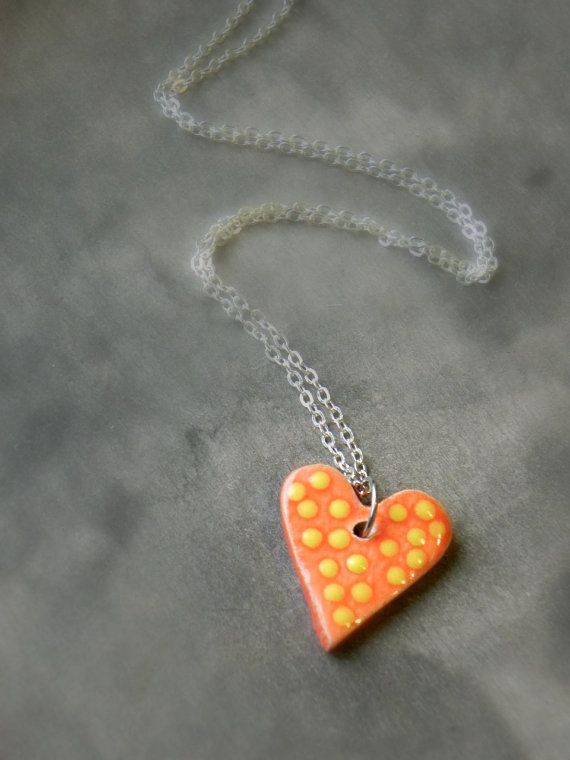 Orange Ceramic Heart Jewelry Sterling Silver Plated by Ceraminic