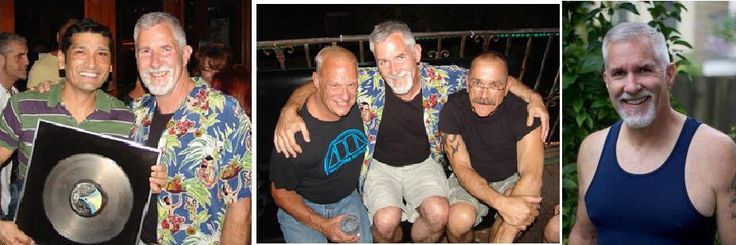 "Left : DJ Glenn Rivera and Paul Parker with his gold hit ""Right On Target"". Center: John Hedges, Paul Parker and Ken Krivello.  Right: Paul Parker."