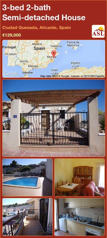 3-bed 2-bath Semi-detached House in Ciudad Quesada, Alicante, Spain ►€129,000 #PropertyForSaleInSpain