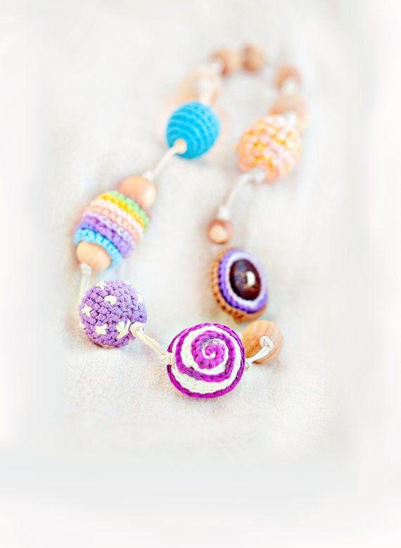 Colorful nursing necklace - Summer - sling accessory - teething necklace - crochet nursing necklace on Etsy, $44.00