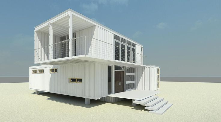 white two story container home