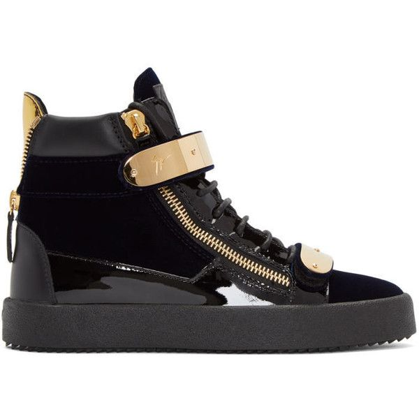 Giuseppe Zanotti Navy Velvet May London High-Top Sneakers (2.700 BRL) ❤ liked on Polyvore featuring men's fashion, men's shoes, men's sneakers, navy, mens round toe shoes, mens high top sneakers, mens metallic shoes, mens velcro strap sneakers and mens zipper shoes